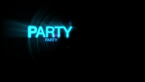 Motion of neon text Party in dark background Animation