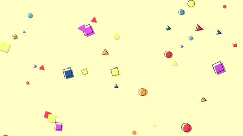 Motion abstract geometric shapes, colourful Memphis background Animation