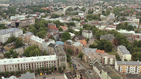 LIEPAJA, LATVIA - JULY, 2019: Aerial panorama view of the cozy cityscape of Live Action