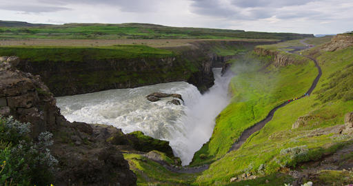 Waterfall Gullfoss on Iceland in Icelandic nature on Golden Circle Live Action