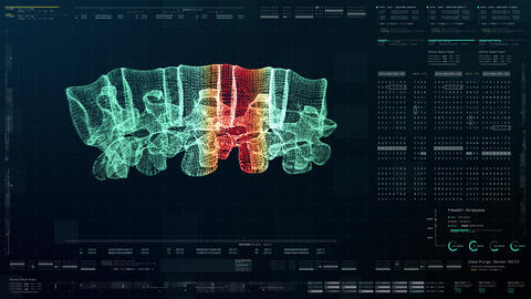 Head Up Display of Advance Human Vertebral Column Biomedical Diagnostic Animation