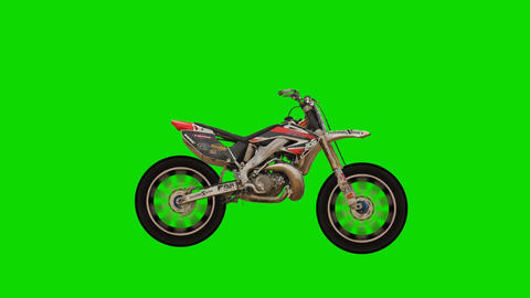 Motocross Dirt Bike on a Green Screen Background Footage