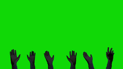 3 Pare of Hands in Black Gloves on a Green Screen Background Live Action