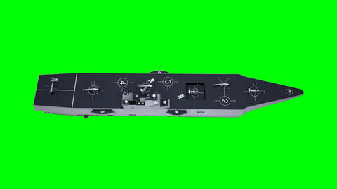 Aircraft Carrier Carrying Choppers on a Green Screen Background Footage