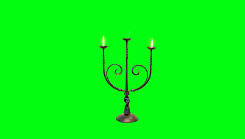 Candle Stick with Flames on a Green Screen Background Live Action