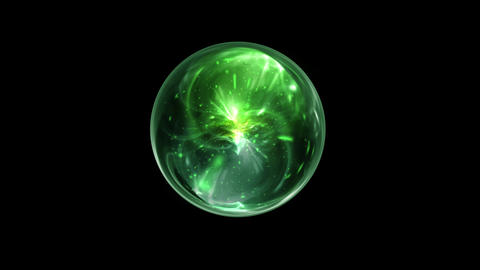 Green Magical Orb Spin on a Black Screen Background Footage