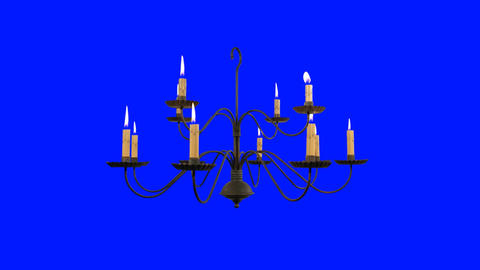 Old Chandelier with Burning Candles on a Blue Screen Background Footage