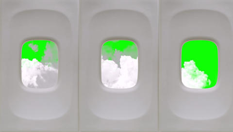 Clouds View from an Airplane Window on a Green Screen Background Footage