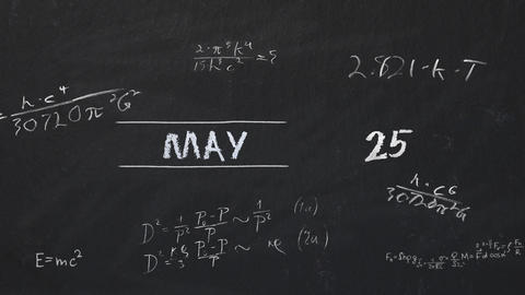 Full Year Calendar in a Time Lapse on a Blackboard Footage