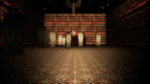 The Interior of the Library of Alexandria in the Lecture Hall Slow Zoom In Footage