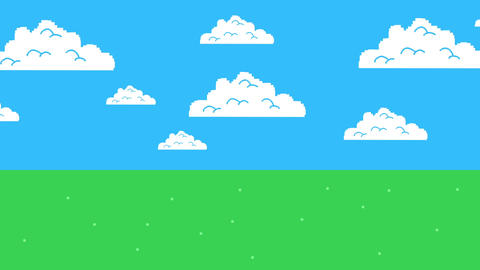 Old Retro Video Game Arcade Clouds on a Blue Sky and Grass Footage