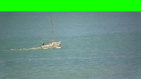 Boat Sailing in the Sea on a Green Screen Background Footage