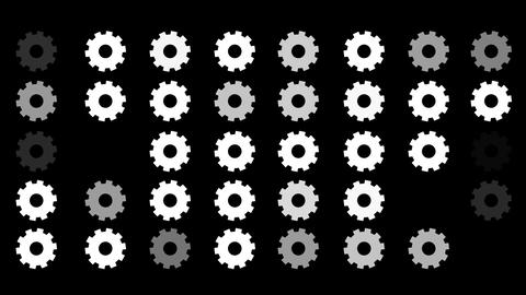 A Flickering Background of a Set of Cogs Icons on a Black Screen Footage