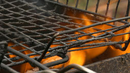 4K Ungraded: Lattice on Barbecue Grill Burning Firewood Footage
