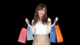 Young Japanese woman shopping with colorful bag 4 Footage