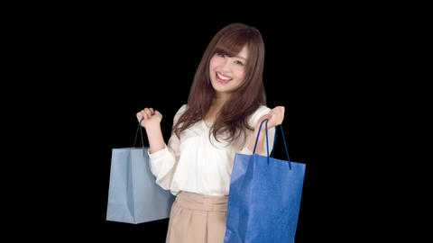 Young Japanese woman shopping with colorful bag 6 ビデオ