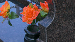 4K Ungraded: Roses in Vase Near Tombstone Swaying in Wind Footage