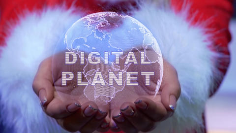 Hands holding planet with text Digital planet Live Action