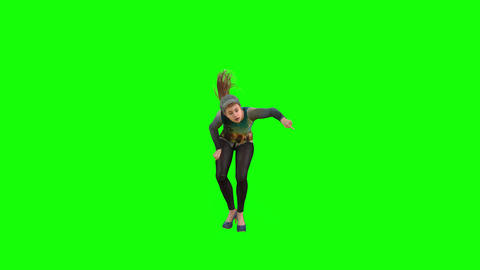500 4k 3d animated nice girl in cap street dancing Animation