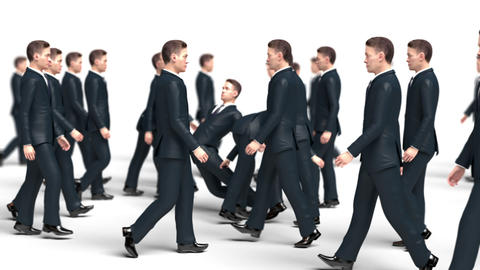 Businessmen Go Towards Each Other Collide and Fall Animation