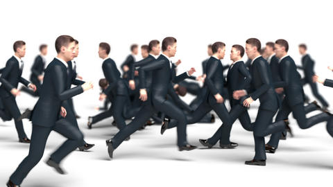 Businessmen Run Towards Each Other Collide and Fall Animation