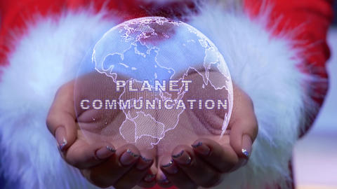 Hands holding planet with text Planet communication Live Action