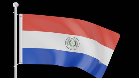 FLAG OF PARAGUAY WAVE W/ALPHA CHANNEL Animation