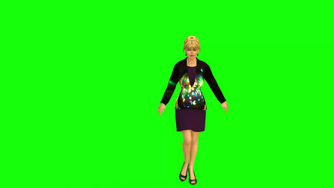 508 4k 3d aniated beautiful woman greeting and talking on stage Animation