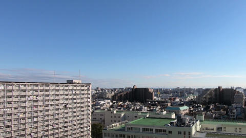 Japan city landscape. Residential area in Tokyo on a sunny day Live Action