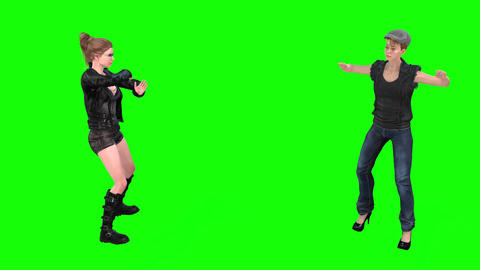 514 4k 3d animated two girls one dancing and the other praises her Animation