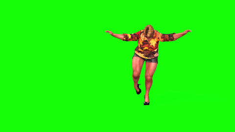 518 4k 3d animated fat woman weighs herself and is unhappy Animation