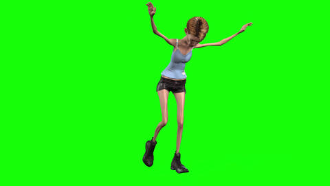 521 4k 3d aniamated girl with anorexia girl weighs herself Animation