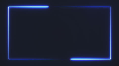 bright blue color neon rectangle frame on black background, abstract 3d Live Action