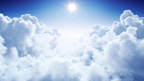 Natural Endless Cumulus Clouds Under the Shining Bright Sun Daylight Seamless Live Action