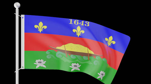 FLAG OF THE FRENCH GUIANA WAVE W/ALPHA CHANNEL Animation