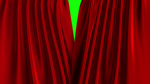 Red Curtain Opening. Green Screen Animation