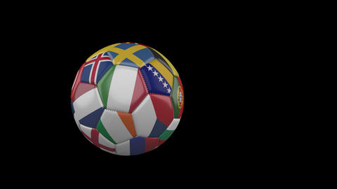 Flags of Euro 3 on slow flying soccer ball on transparent background, alpha Animation