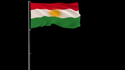 Kurdistan flag on transparent background, 4k footage with alpha transparency Animation