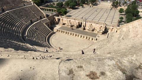 Amman, Jordan - October 20, 2019: Roman Amphitheater tourists explore the Live Action