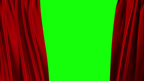 Red Curtains Opening. Green Screen Animation