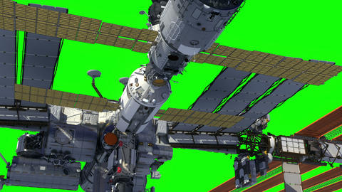 International Space Station Orbiting Earth. Green Screen GIF