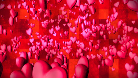 Broadcast Romantic Bouncing Hearts, Magenta Red, Events, 3D, Loopable, 4K Animation