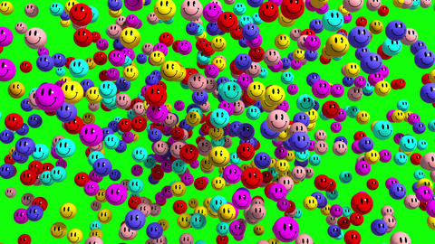 4K. Multicolor Smiley Face Icon Explosion. Green Screen Animation