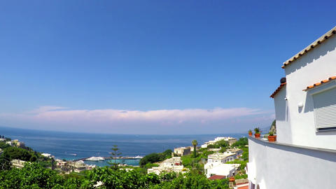 panoramic view of world famous Capri island. Campania, Italy Live Action