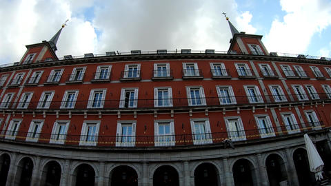 Historic building in Plaza Mayor under a cloudy sky Live Action