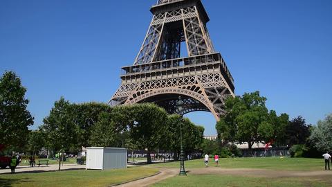 World famous Tour Eiffel tower under a clear sky, France Live Action