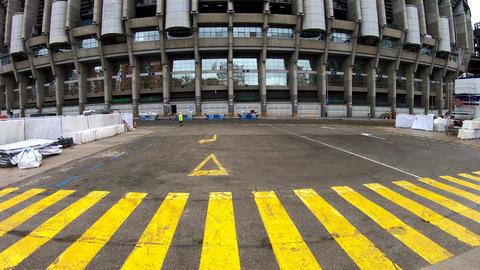 World famous Santiago Bernabeu Arena facade Live Action