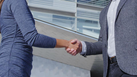 Business People Handshake - business people shaking hands, man and woman Live Action