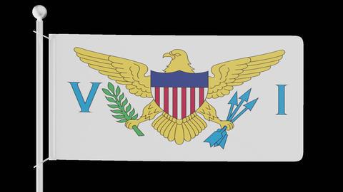 FLAG OF THE U.S. VIRGIN ISLANDS WAVE W/ALPHA CHANNEL Animation