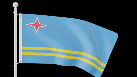 FLAG OF ARUBA WAVE W/ALPHA CHANNEL Animation